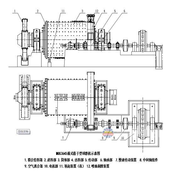 湿式格子型球磨机结构图
